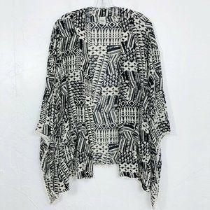 L Space Black & White Tribal Print Kimono Cover Up